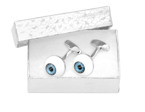 Silver-Tone Men's Cuff Links | Blue Eyes Design Mens Cufflinks