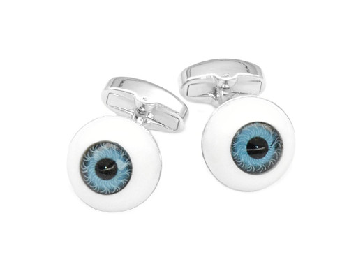 Silver-Tone Men's Cuff Links | Blue Eyes Design Mens Cufflinks
