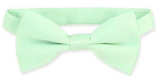 Vesuvio Napoli Boys BowTie Solid Laurel Green Color Youth Bow Tie