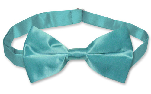 Turquoise Blue Mens Bowtie | Biagio Silk Pre Tied Solid Color Bow Tie