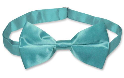 Turquoise Blue Mens Bowtie | Biagio Silk Pre Tied Solid Color Bow Tie