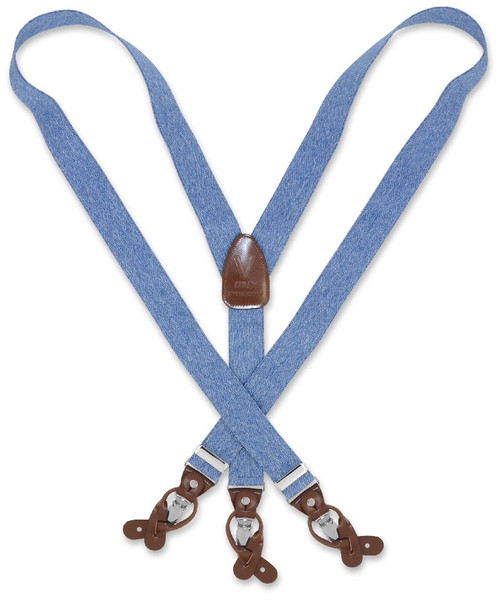 Mens Blue Jeans Suspenders Y Shape Back Button & Clip Convertible
