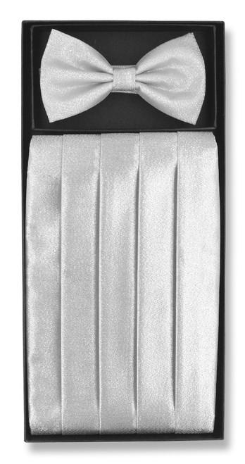 Cummerbund BowTie Set Silver Grey Metallic Design Cumberbund