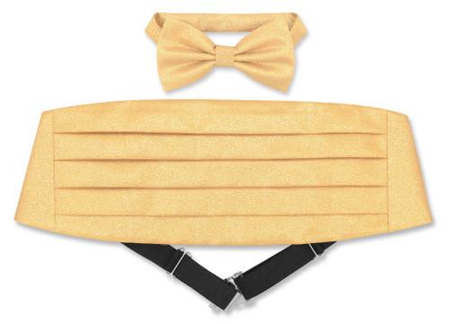 Cummerbund BowTie Set Gold Color Metallic Design Cumberbund