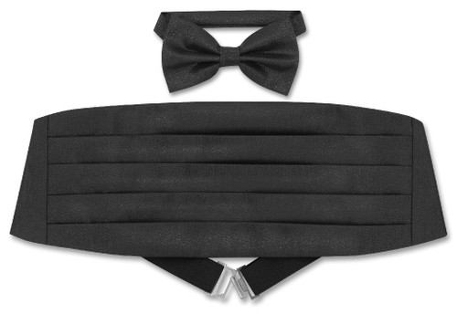 Cummerbund BowTie Set Black Metallic Design Cumberbund Bow Tie