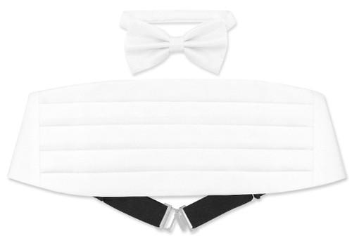 Cummerbund BowTie Set White Metallic Design Cumberbund Bow Tie
