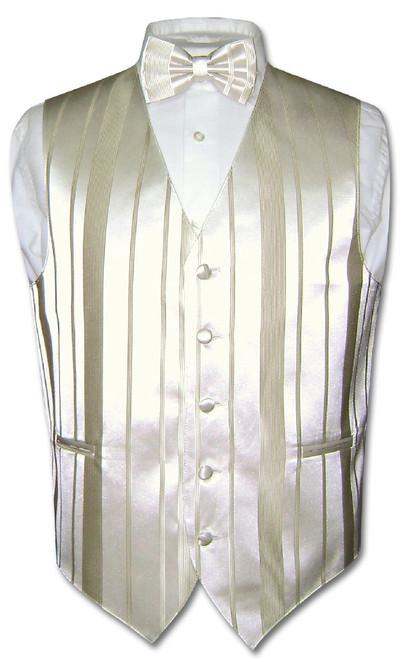 Mens Dress Vest BowTie Cream Off-White Color Woven Striped Bow Tie Set