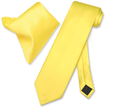 Vesuvio Napoli Golden Yellow NeckTie Handkerchief Mens Neck Tie Set