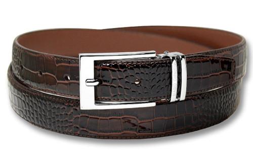 Biagio Croc Dark Brown Mens Bonded Leather Belt Silver-Tone Buckle