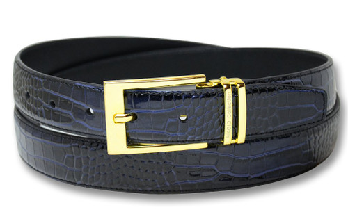Biagio Croc Navy Blue Mens Bonded Leather Belt Gold-Tone Buckle