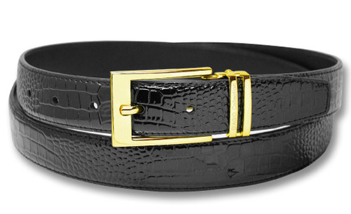Biagio Croc Embossed Black Mens Bonded Leather Belt Gold-Tone Buckle