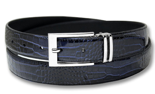 Biagio Croc Navy Blue Mens Bonded Leather Belt Silver-Tone Buckle