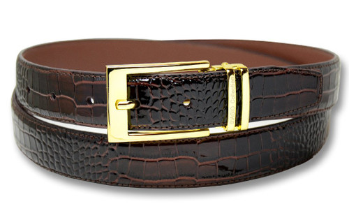 Biagio Croc Dark Brown Mens Bonded Leather Belt Gold-Tone Buckle