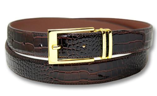 Biagio Croc Dark Brown Mens Bonded Leather Belt Gold-Tone Buckle