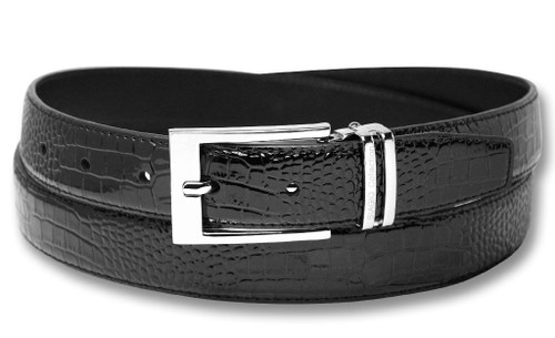 Biagio Croc Embossed Black Mens Bonded Leather Belt Silver-Tone Buckle