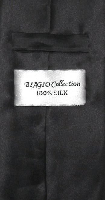 Biagio 100% Silk NeckTie Extra Long Solid Black Color Mens XL Neck Tie