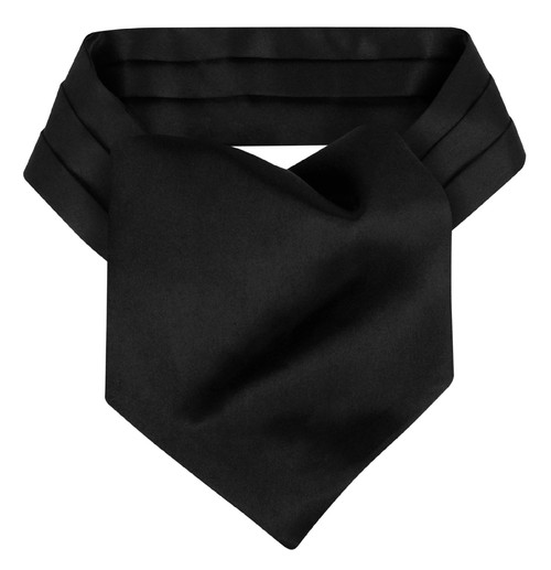 Black Cravat Tie | Mens Biagio Solid Black Ascot Cravat Necktie