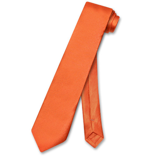 Biagio Boys NeckTie Solid Burnt Orange Color Youth Neck Tie