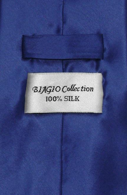 Biagio 100% Silk NeckTie Extra Long Solid Royal Blue Mens XL Neck Tie