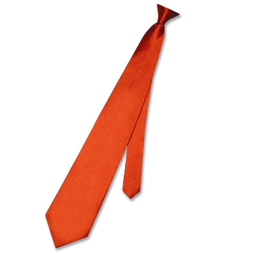 Biagio Clip-On NeckTie Solid Burnt Orange Color Mens Neck Tie