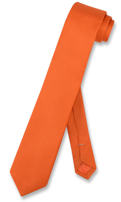 Biagio 100% Silk Narrow NeckTie Skinny Burnt Orange Color Men Neck Tie