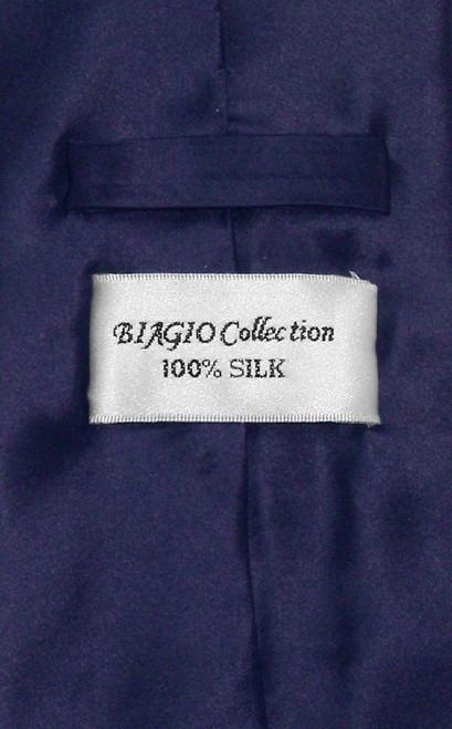 Biagio 100% Silk NeckTie Extra Long Solid Navy Blue Mens XL Neck Tie