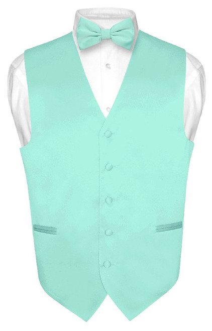 Mens Dress Vest & BowTie Solid Aqua Green Color Bow Tie Set
