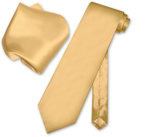 Biagio Silk Solid Gold Color NeckTie Handkerchief Mens Neck Tie Set