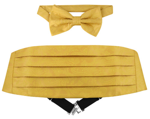 Cumberbund BowTie Gold Color Paisley Design Men Cummerbund Bow Tie Set