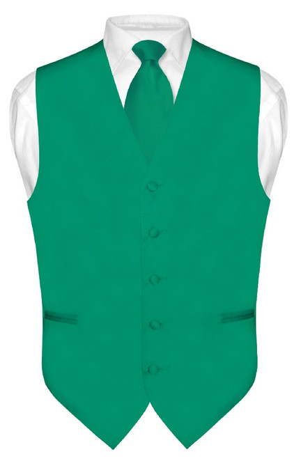 Emerald Green Vest And Neck Tie | Mens Formal Dress Vest & Tie Set
