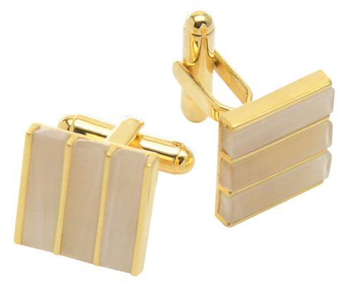 Gold-tone Mens Cuff Links Square White Cat Eye CuffLinks