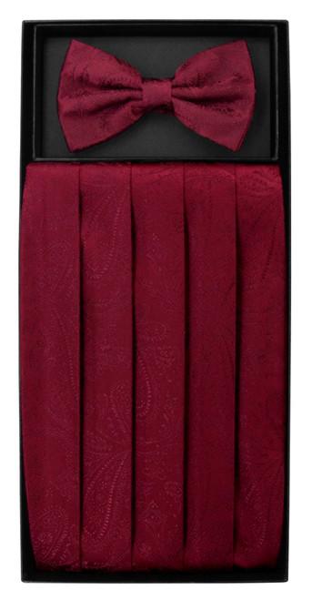 Cumberbund BowTie Burgundy Paisley Mens Cummerbund Bow Tie Set