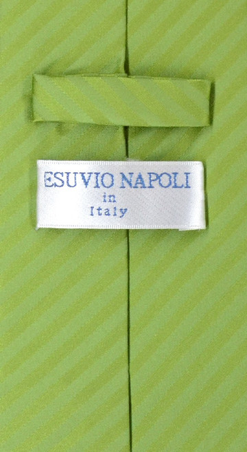 Vesuvio Napoli Spinach Green Striped NeckTie & Handkerchief Tie Set