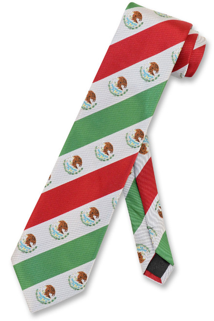 Mexican Flag Mens Neck Tie White Green Red Stripes NeckTie