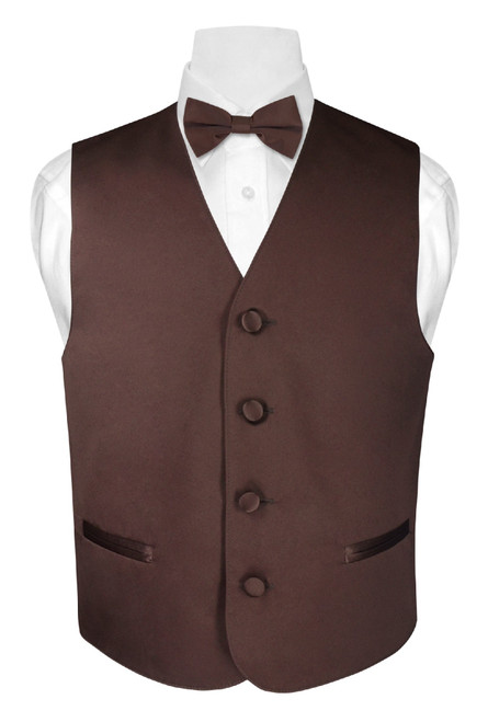 Boys Dress Vest Bow Tie Solid Chocolate Brown Color BowTie Set