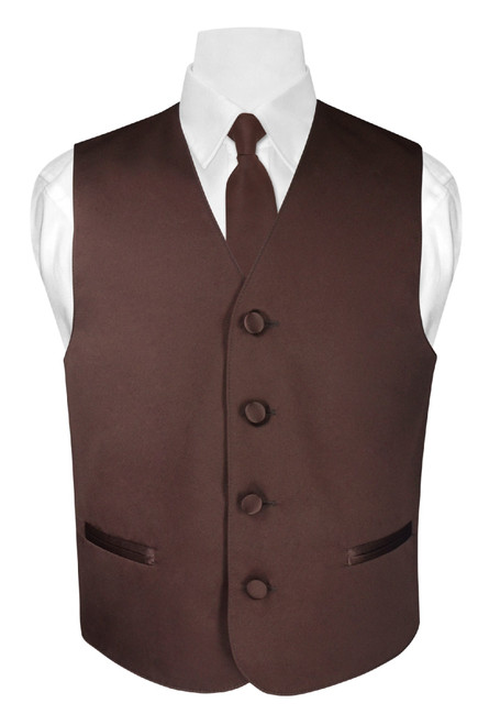 Boys Dress Vest and Neck Tie Solid Chocolate Brown NeckTie Set
