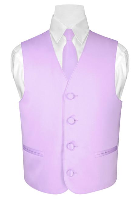 Boys Dress Vest and Neck Tie Solid Lavender Purple NeckTie Set