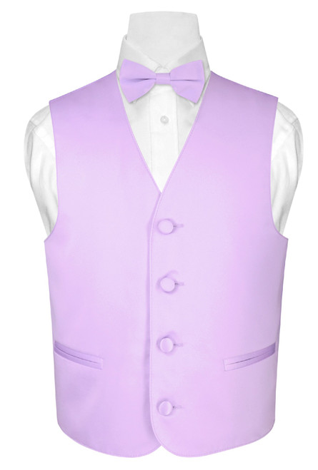 Boys Dress Vest Bow Tie Solid Lavender Purple Color BowTie Set