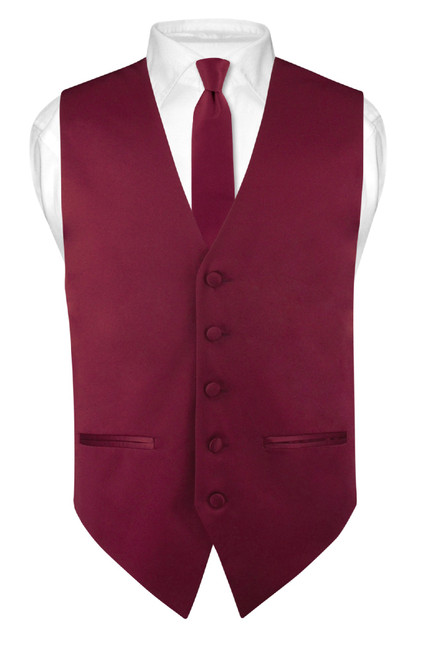 Slim Fit Burgundy Vest | Mens Solid Color Dress Vest Tie Hanky Set