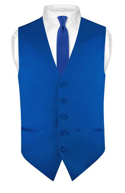 Slim Fit Royal Blue Vest | Mens Solid Dress Vest Tie Hanky Set