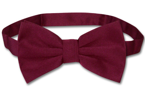 Mens Slim Fit Vest BowTie Burgundy Bow Tie Handkerchief Set