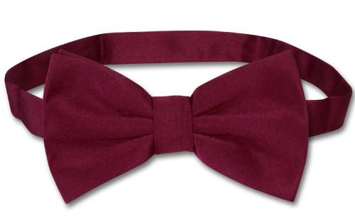 Mens Slim Fit Vest BowTie Burgundy Bow Tie Handkerchief Set