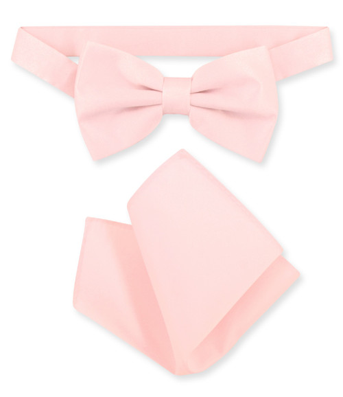 Pink Bow Tie And Handkerchief Set | Mens Solid Pink Bowtie Set