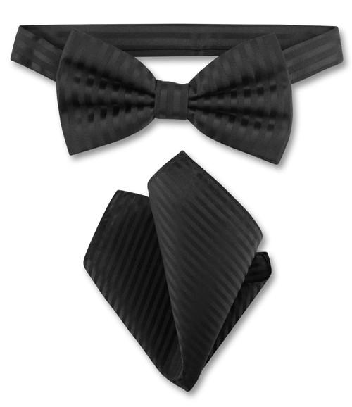 Black Vertical Stripes Bow Tie Handkerchief Set | Mens BowTie Set