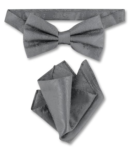 Charcoal Grey Paisley Bow Tie Handkerchief Set | Mens BowTie Set