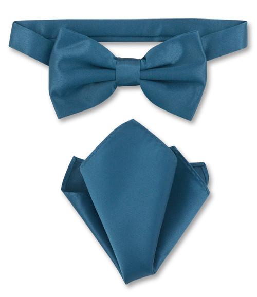 Blue Sapphire Bow Tie Handkerchief Set   Blue Sapphire Bowtie Set