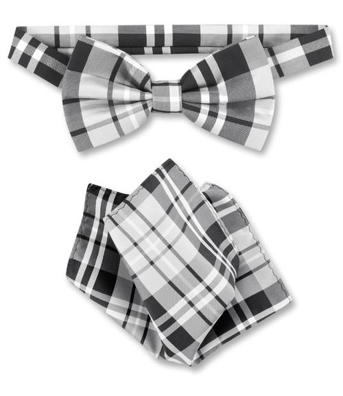 Black Grey White Plaid Bow Tie Handkerchief | Mens BowTie Set
