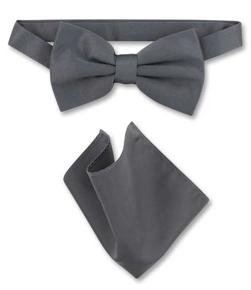 Charcoal Grey Bow Tie And Handkerchief Set | Mens Bowtie Set