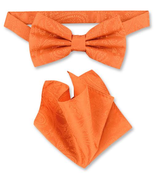 Burnt Orange Paisley Bow Tie Handkerchief Set   Mens BowTie Set