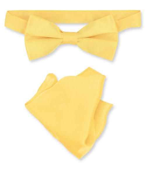Gold Color Bow Tie Handkerchief Set   Silk BowTie And Hanky Set